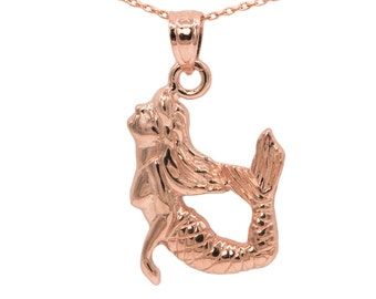14k Rose Gold Mermaid Necklace