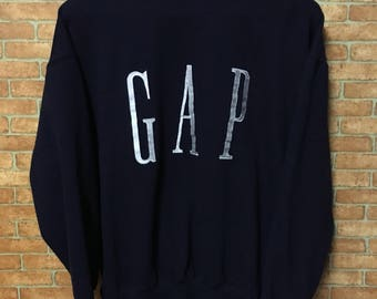 Vintage Gap Big Logo Embroidery  Sweatshirt Pullover Jumper Blue L