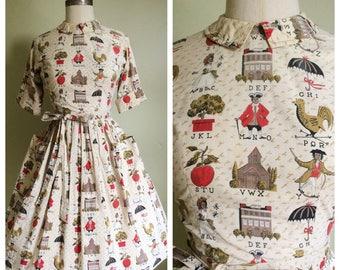 1950s Dress • 1950s novelty print Swirl dress