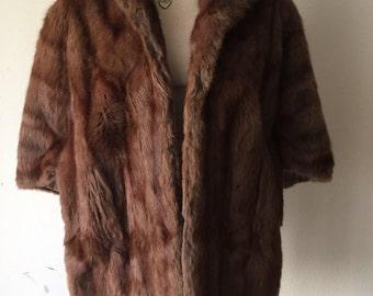 Dark brown women's fur bolero, real mink, velvet&shiny fur, fluted form, with collar, retro design, festive look, vintage, size-universal.