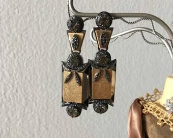 Unique earrings from metal and Swarovski stones, long earrings & shiny stones amazing modern earrings steep vintage handmade size-universal.