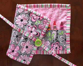 Pink Flower Crayon Roll Up, Pink Crayon Holder, Girl Crayon Tote, Girl Crayon Holder, Pink Gray Green, Art Supplies, Quilted Crayon Roll