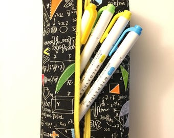 Yellow math pencil pouch