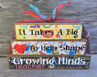 It takes a big heart to help shape growing minds block set, teacher gift, stacked teacher blocks