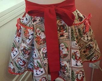 Christmas Apron- Scalloped hem Reversible Half Apron