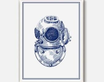 Diver Helmet Wall Art, Nautical Wall Print, Diver illustration, Nautical Decor, Digital Print, Sailing Art, Helemet Print, Beach House Art