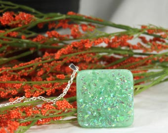 Green Faux Fire Opal Pendant