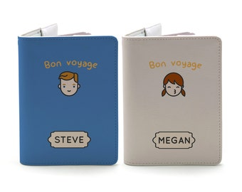Cute Kawaii Couple - Personalized couple passport cover/holder - Travel Passport Cover - High Quality Handmade Leather |TPS-PPC-664,665