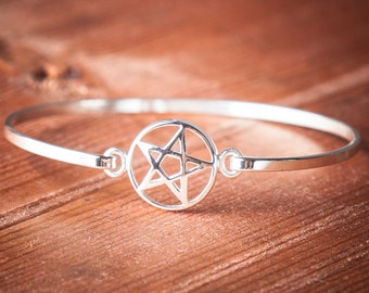 Sterling silver star bangle, sterling silver bangle