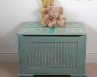 Duck egg blue hand painted Union Jack toy box - trunk
