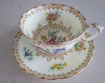 Crown Staffordshire Gold Floral Tea Cup and Saucer