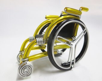 Big Miniature Wheelchair, Yellow Wheelchair Handmade, Wheelchait Gift, Handmade Wheelchair Wire Bending, Gift for Him, Gift for Her