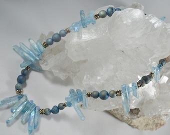 Blue Quartz and Druzy Beaded Necklace
