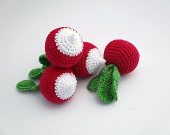 1pcs- Crocheted radish Amigurumi radish Stuffed radish Amigurumi toy Radish Stuffed toy Crochet toy Crochet teething toy Crochet baby toy