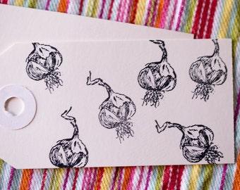 Mini Stamp Garlic - 1 inch x .5 inch stamp - hand drawn garlic, cured garlic - produce & farm branding - garlic stamp
