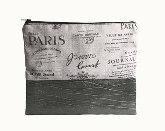 Paris Print and contemporary abstract, metallic clutch