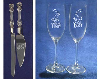Set of 2 toasting glass and knife and cake server with Beauty and the Beast wedding theme Personalized