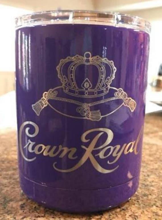 Yeti Crown Royal Low Ball 10 Oz Cup Purple Powder Coated Laser