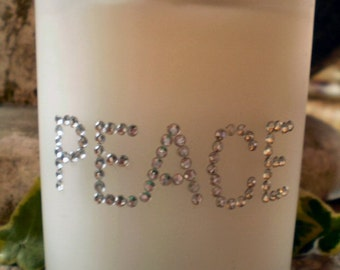 Austrian Crystal Peace Glass Christmas Candle Votive,45 hours burn time for candle,Then use as a Tea Lite Holder