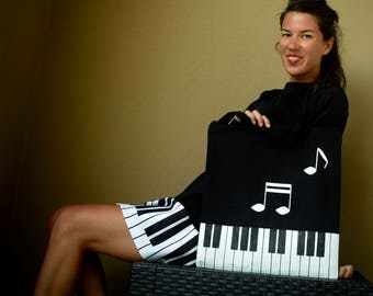Piano dress, Piano , Music dress , Black and white dress , Concert dress -50% off