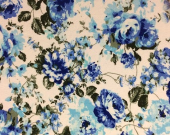 Blue and White Floral Double Brushed Poly Knit