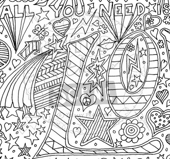 I need coloring pages ~ All you need is love Colouring Page.