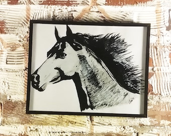 Mustang Horse Painting with Frame - Original Acrylic Painting