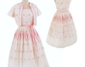 60s Ivory Pink Eyelet Dress Jacket Set-1960s Jerry Gilden Embroidered Dress-Summer Sundress-Full Midi Skirt-Feminine-Fit and Flare-S