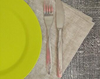 Set of linen napkins, Set of 4/6/8 napkins, Dinner napkins, Grey linen napkins.