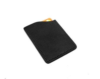Minimalist Leather Card Sleeve • Black • EDC front pocket wallet, minimalist wallet, ultralight front pocket wallet • EDC-200-VK