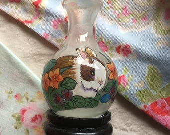 Miniature painted Vase and stand with Rabbit and flowers