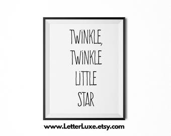 Twinkle Twinkle Little Star - Lullaby Art for New Baby - Nursery Decor - Typography Art - Digital Print - Wall Hanging - Song Lyrics Quote