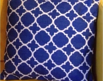"""Double-sided Blue Moroccan cushion cover 18"""" linen"""