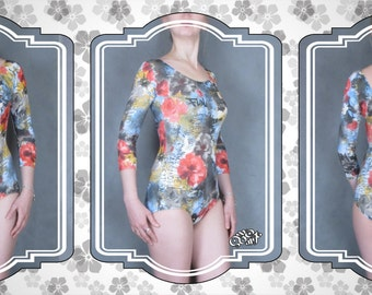 Dance leotard. Multicolored leotard with floral pattern. For practice or performance. Sleeves – 3/4. Ready to ship. S - M size.