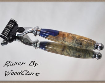 Handmade Blue Maple Burl Wood Gillette Mach 3 Fusion Double Edge Safety Shaving Razor 802