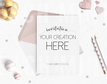 Mock Up Pink Invitation 5x7 Vertical | Pink White Gold Decorations | Digital Paper | Digital Background | Digital Wallpaper | Mock Up