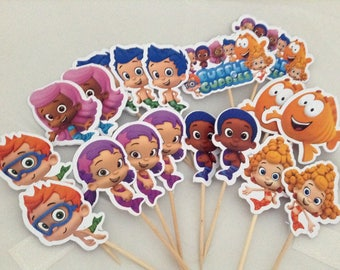 Bubble Guppies Cupcake Toppers with Stick Topper with stick Set of 18 Custom Made