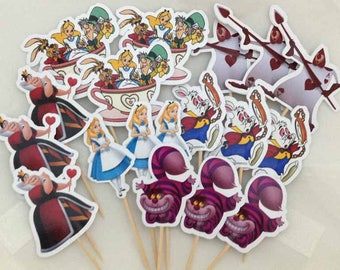 Alice In Wonderland Cupcake Toppers with Stick Topper Set of 18 Custom Made