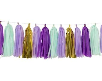 Purple + Light Purple + Mint + Metalllic Gold | Tassel Garland | Metallic Tissue Tassel Garland | FOLI + LO