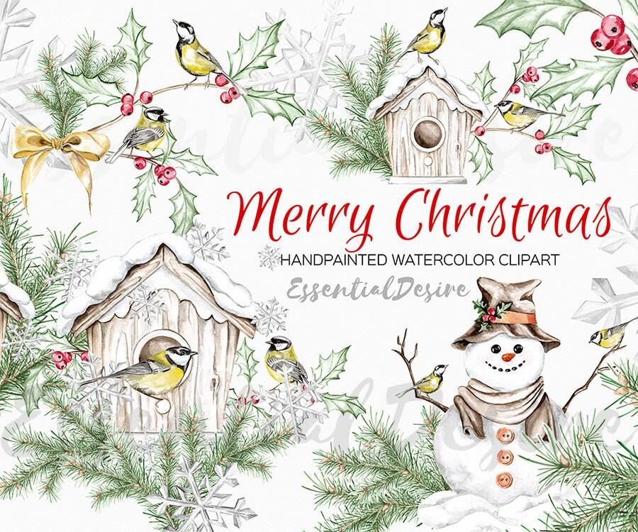 Christmas Clipart Watercolor House For Birds DIY Winter
