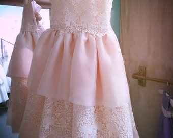Light pink flower girl dress, special occasion, ivory, lace