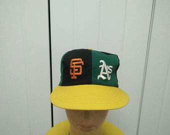 Rare Vintage San Francisco VS Oakland athletics Colour Block Cap Hat Free size fit all Made in USA
