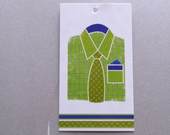 100 FASHION TAGS CLOTHING/Accessories Boutique Price Tags  Cute Mens Green Shirt Retail Tags with  Plastic Loops