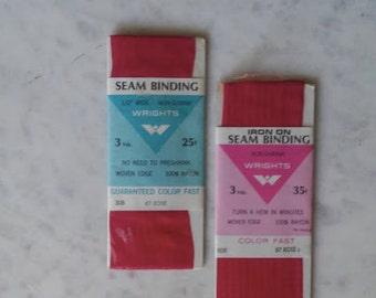 Binding / Wrights Binding / Rose / Colorfast / Vintage Binding / Iron On / Seam Binding / Set / 1960's
