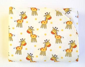Gender Neutral Giraffe Receiving Blanket, Giraffe Baby Blanket, Baby Receiving Blanket, Baby Swaddle