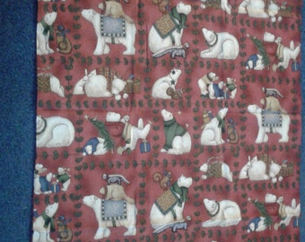 Christmas polar bear red and plaid pillow case
