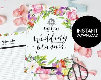 Printable Wedding Planner | Diary, DIY wedding plan, printable insert, wedding pdf, bridal shower gift, binder, ebook, folder, checklist