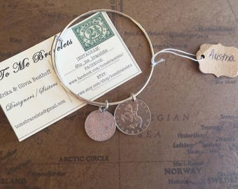 AUSTRIA!! Bangle with Salvaged Vintage Coin, Adjustable, Jewelry grade sterling silver, handmade