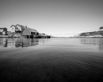 Fisher houses, fisher haven at Peggy's cove ; Nova Scotia, Canada, BW