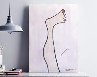 Hairy leg, Original painting, Bathroom, Decor, Wall art, Sketch, Beauty salon, Bathroom decor, Hairy woman leg, Shaving Razor Illustration